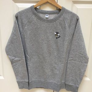 Women's grey crew neck sweatshirt